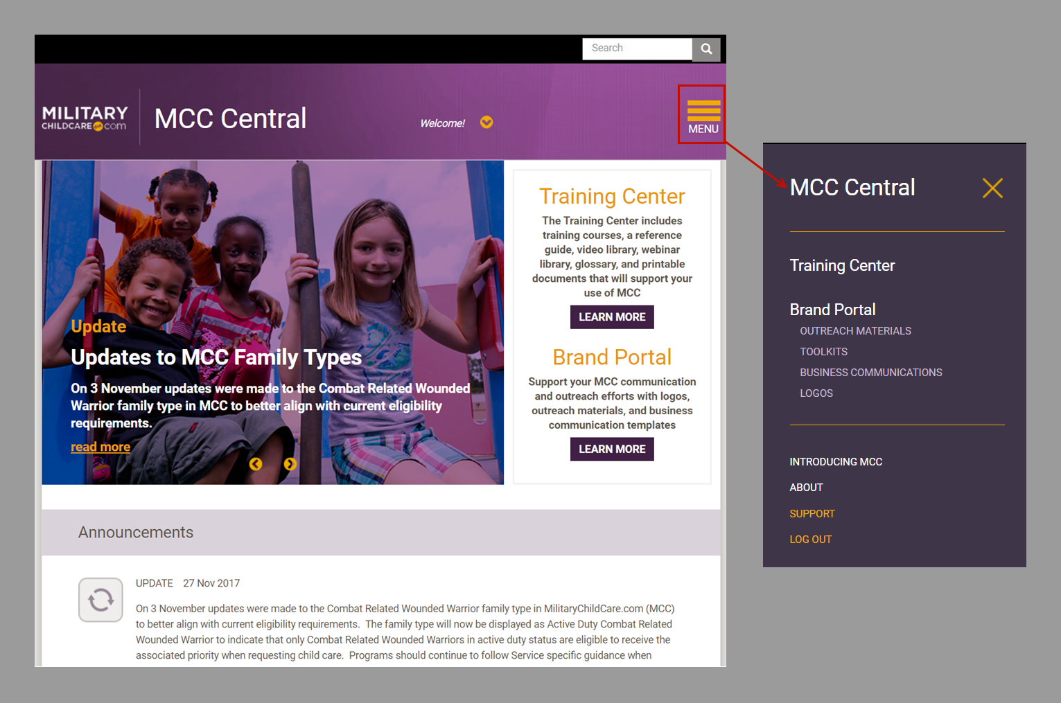 MCC Central home page with the main menu expanded