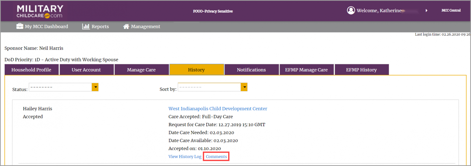 Accessing comments for an inactive request in household profile with comments link highlighted