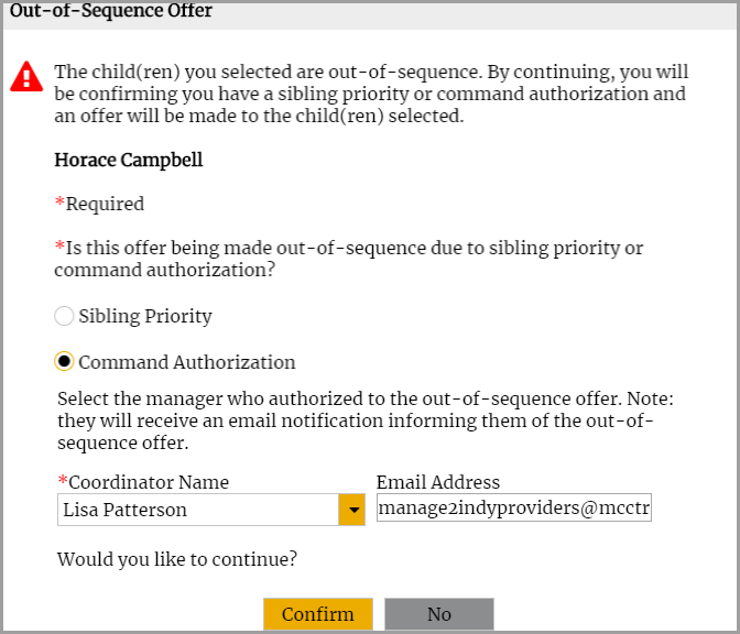 Out-of-Sequence Interview Request window with Commander Authorization selected