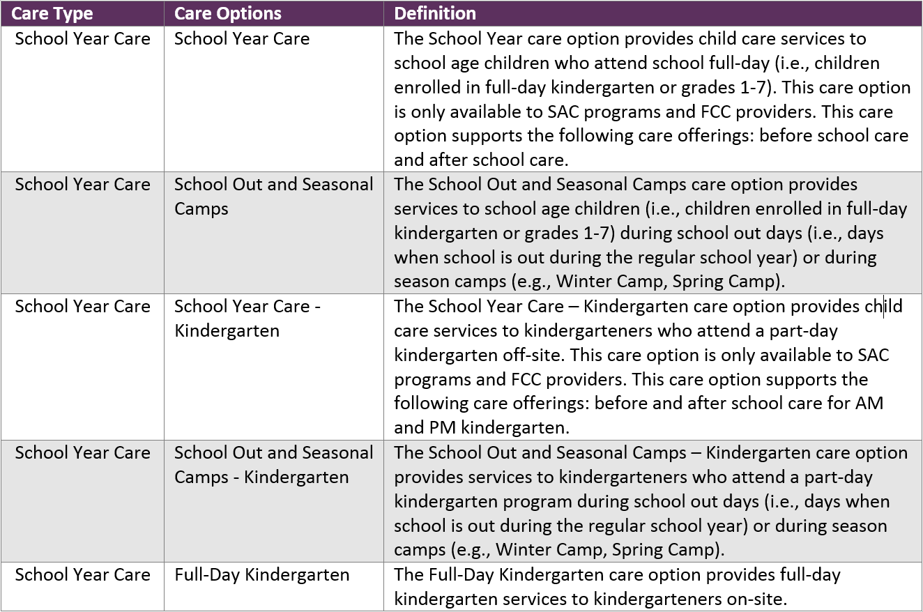 Table showing descriptions of the two school year care options: school year care and school year care - kindergarten.