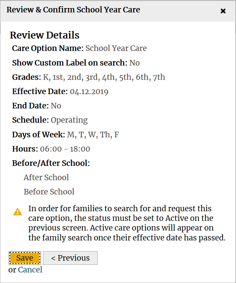 Review and confirm school year care details