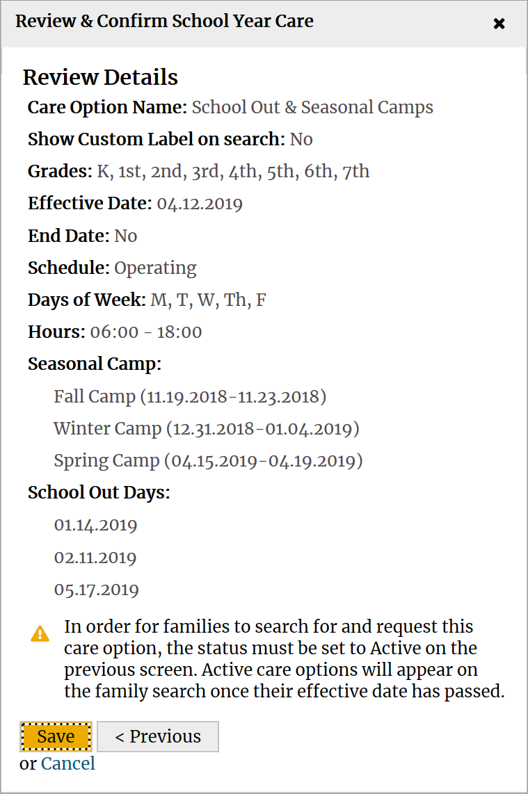 Review and confirm school year care screen.
