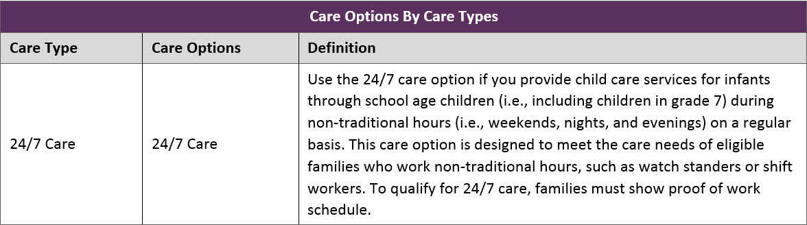 Table showing description of the 24/7 care option.